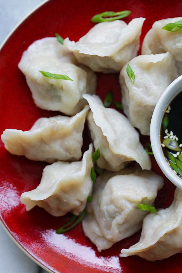 Homemade healthy steamed wonton in a plate.