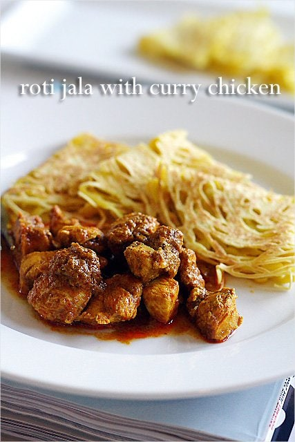 Roti Jala, lacy pancakes. So yummy with chicken curry. | rasamalaysia.com