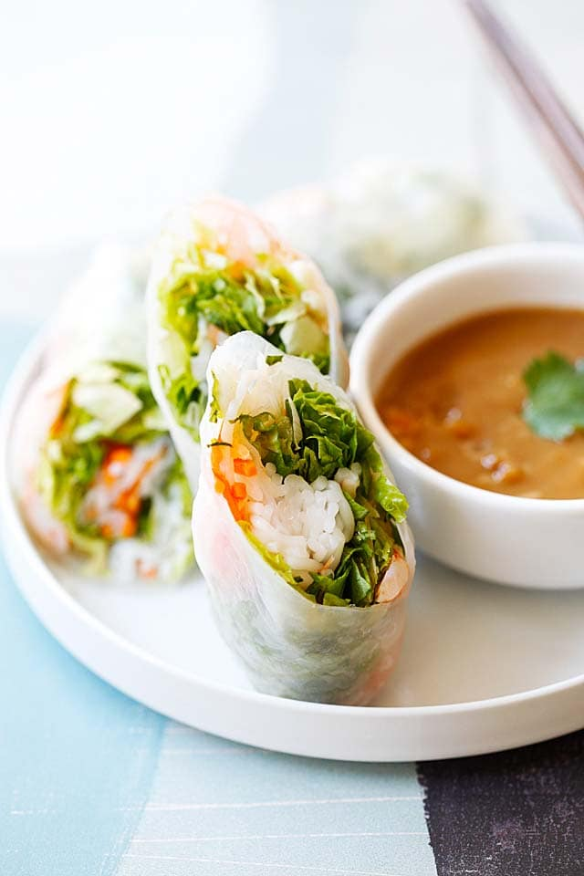 Goi cuon tom with shrimp, rice vermicelli, vegetables and herbs wrapped with Vietnamese rice paper.