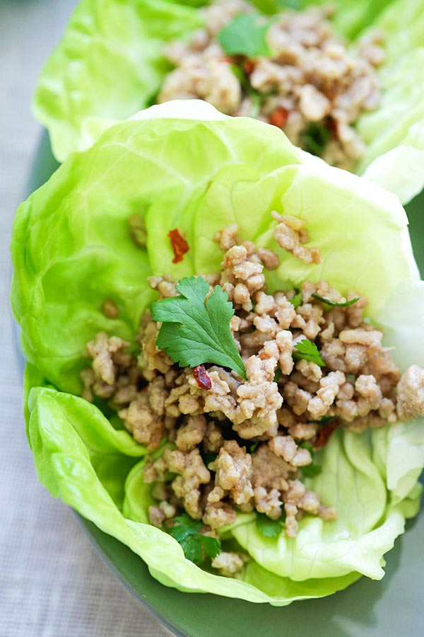 Laos minced pork larb wrapped in lettuce leave.
