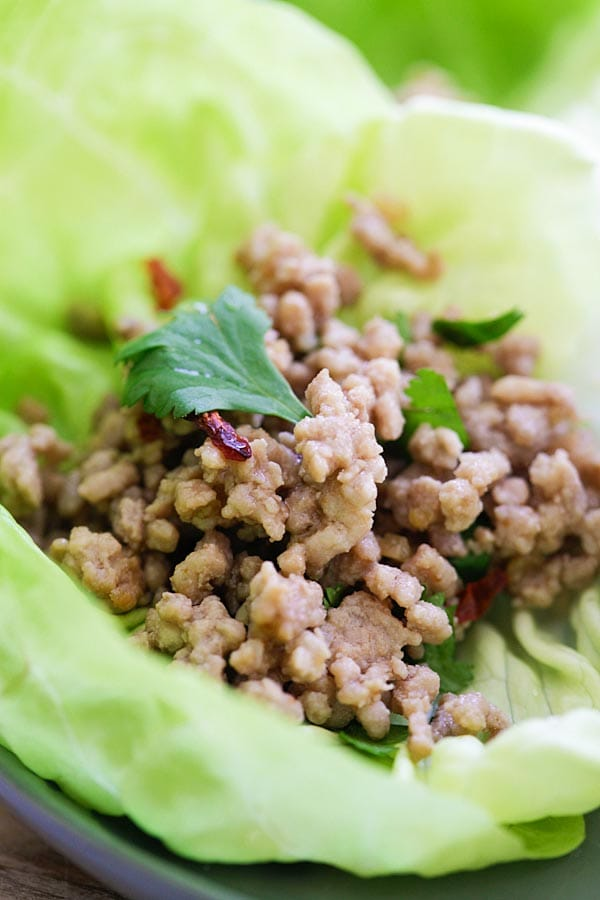 Healthy Asian minced pork recipe wrapped in lettuce leaves ready to serve.