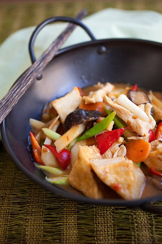 Easy Sichuan homestyle tofu recipe (家常豆腐) in a skillet.