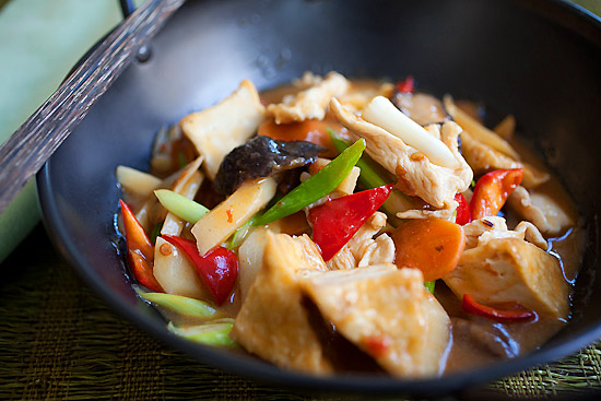 Sichuan homemade tofu is a tofu dish made with spicy bean sauce ready to serve.