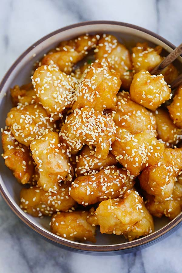 Super easy fried honey sesame chicken recipe to make at home.