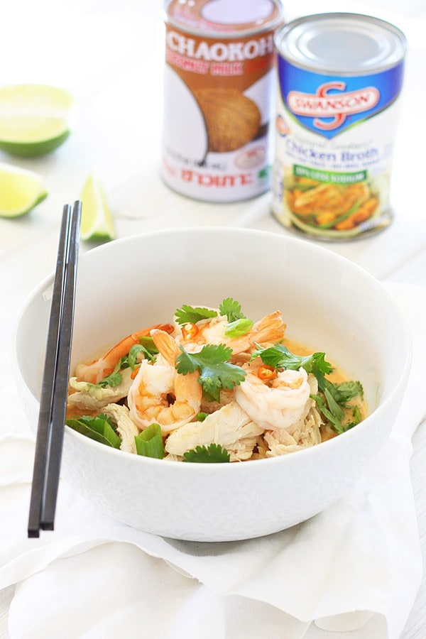 Easy homemade Coconut Curry Noodle Bowl.