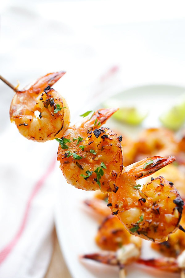 Chili and lime grilled shrimp in a skewer.