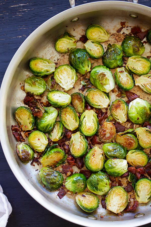 Garlic-Prosciutto Brussels Sprouts in a skillet.
