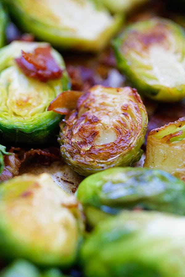 Close up buttery Garlic-Prosciutto Brussels Sprouts.