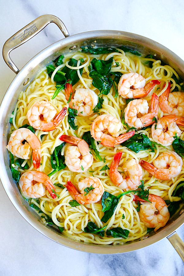 One pot healthy creamy Shrimp Pasta, top down view.