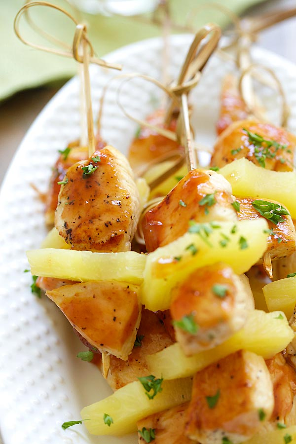 Hawaiian chicken kabob skewers with pineapple coated in homemade BBQ sauce.