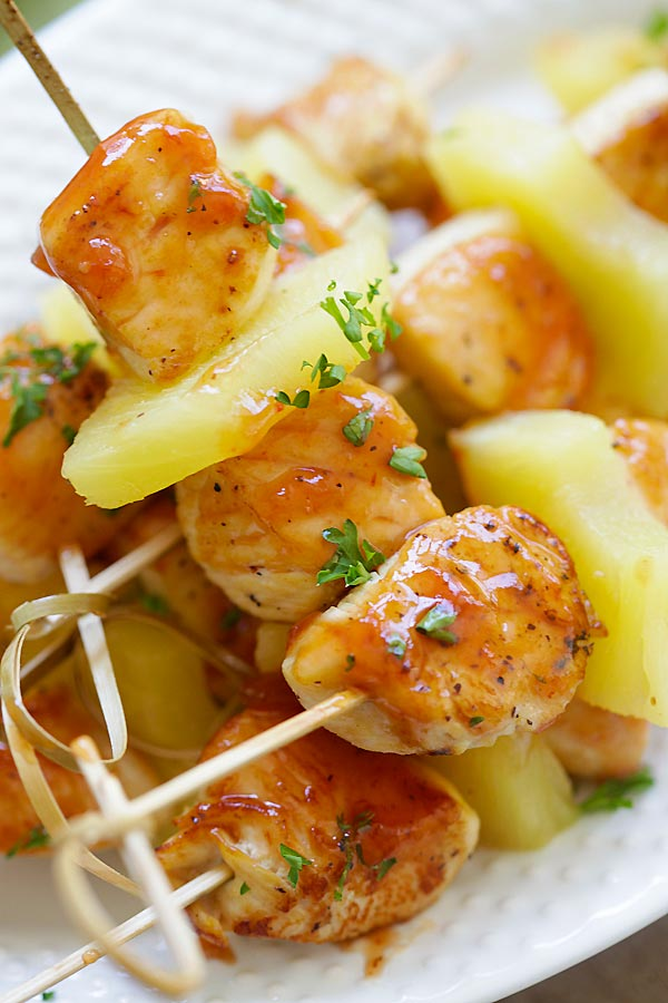 Easy and quick Hawaiian chicken kabobs made with pineapple and BBQ glaze.