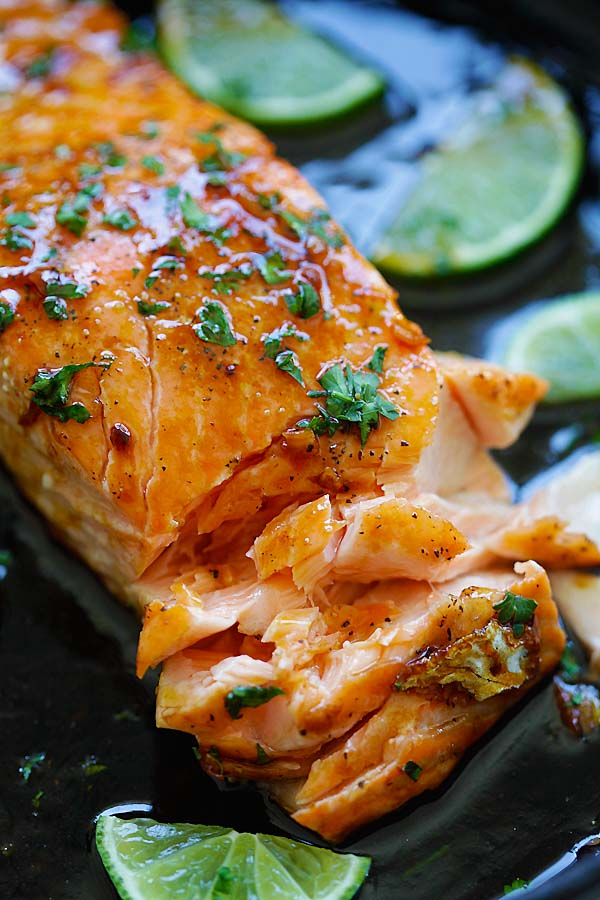 Easy baked salmon with honey, lime juice and soy sauce.