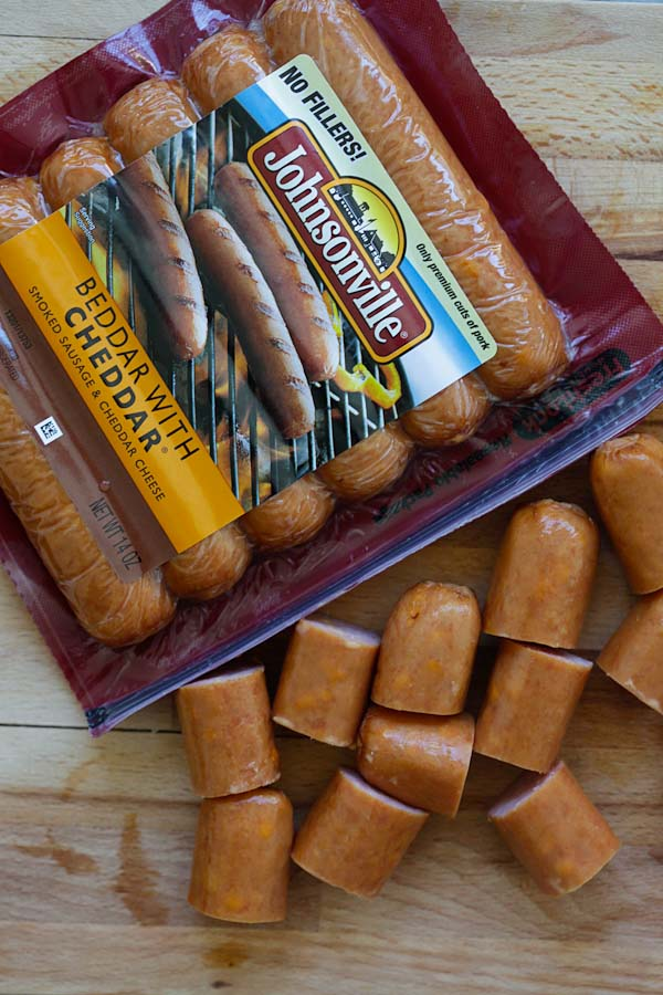 Johnsonville cheesy sausages.