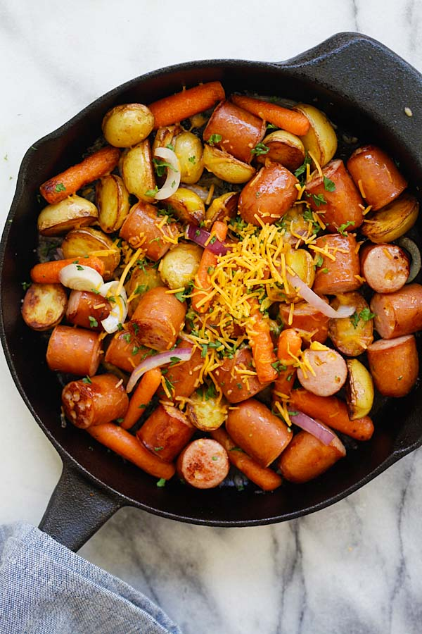 Skillet sausage and potatoes recipe.