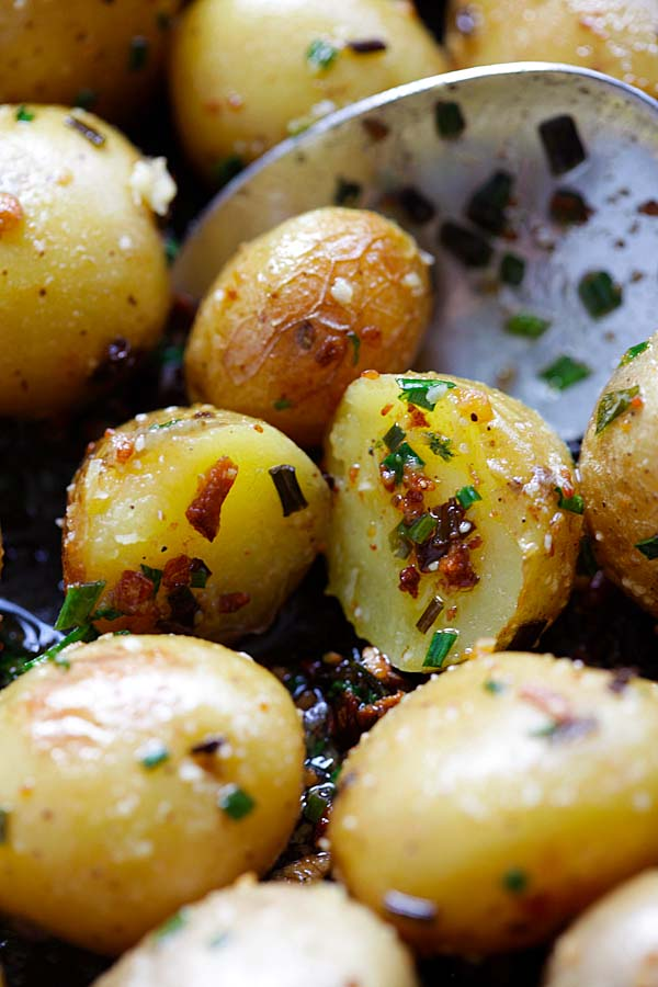 Close up view of Garlic Chive Butter Roasted Potatoes.