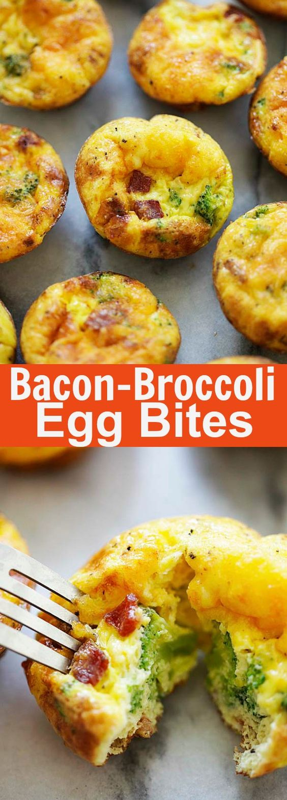 Bacon Broccoli Egg Bites - healthy, wholesome and delicious breakfast egg bites with fresh broccoli, crispy bacon and eggs. Made in oven, these baked egg bites are better than Starbucks | rasamalaysia.com