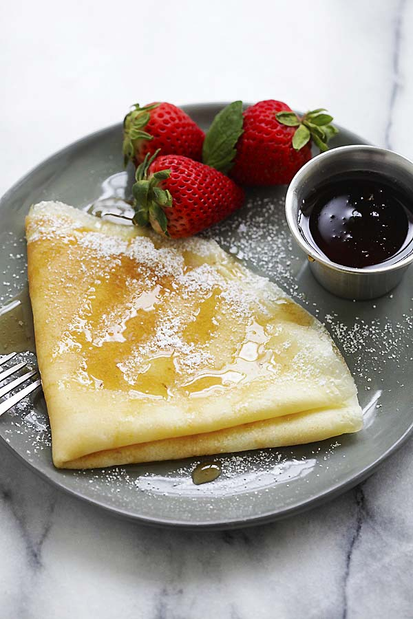 Crepes with maple syrup.