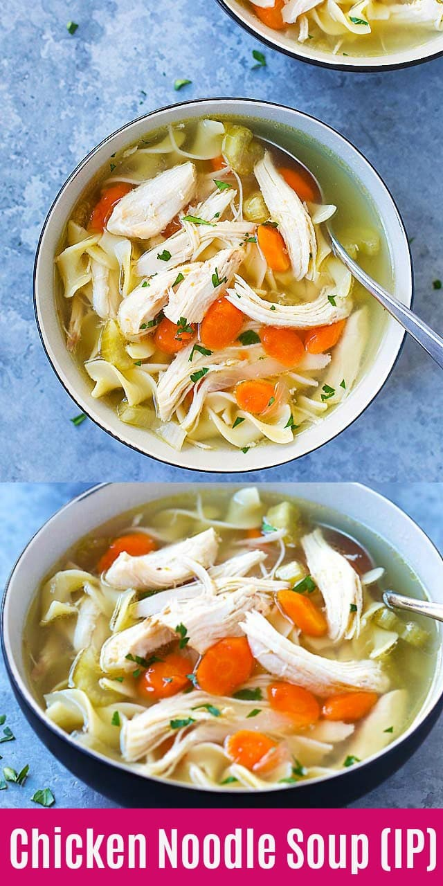 Instant Pot Chicken Noodle Soup - quick and easy chicken noodle soup made in an instant pot. Takes only 45 mins from prep to dinner table. So good!