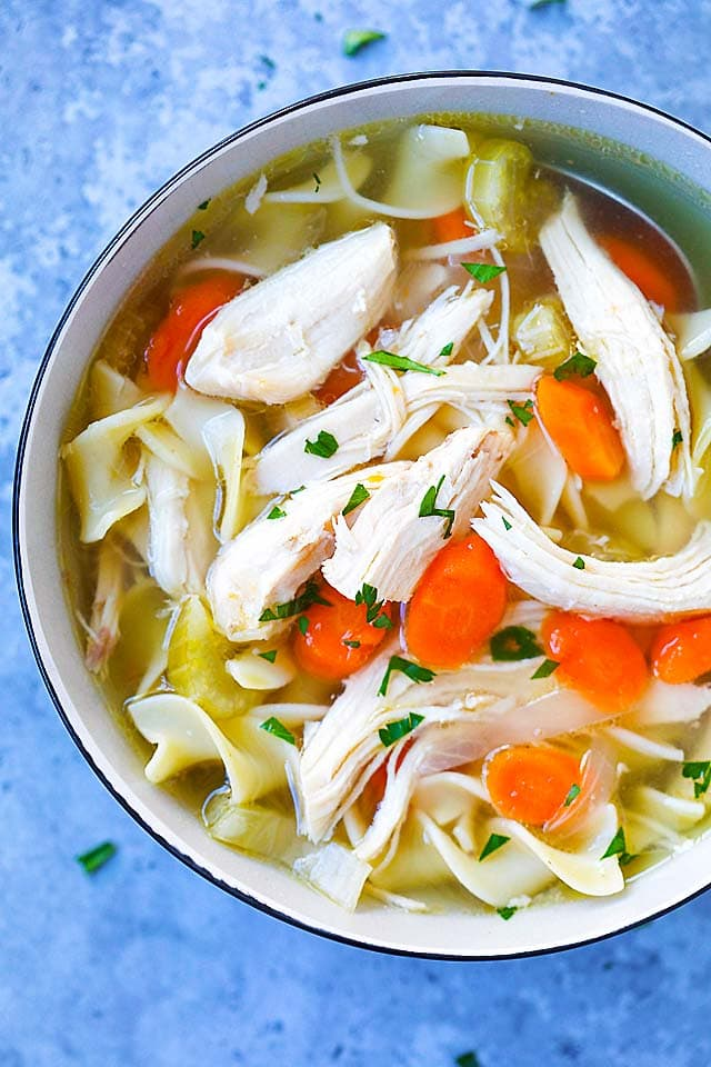Top down picture of chicken noodle soup, made with Instant Pot.