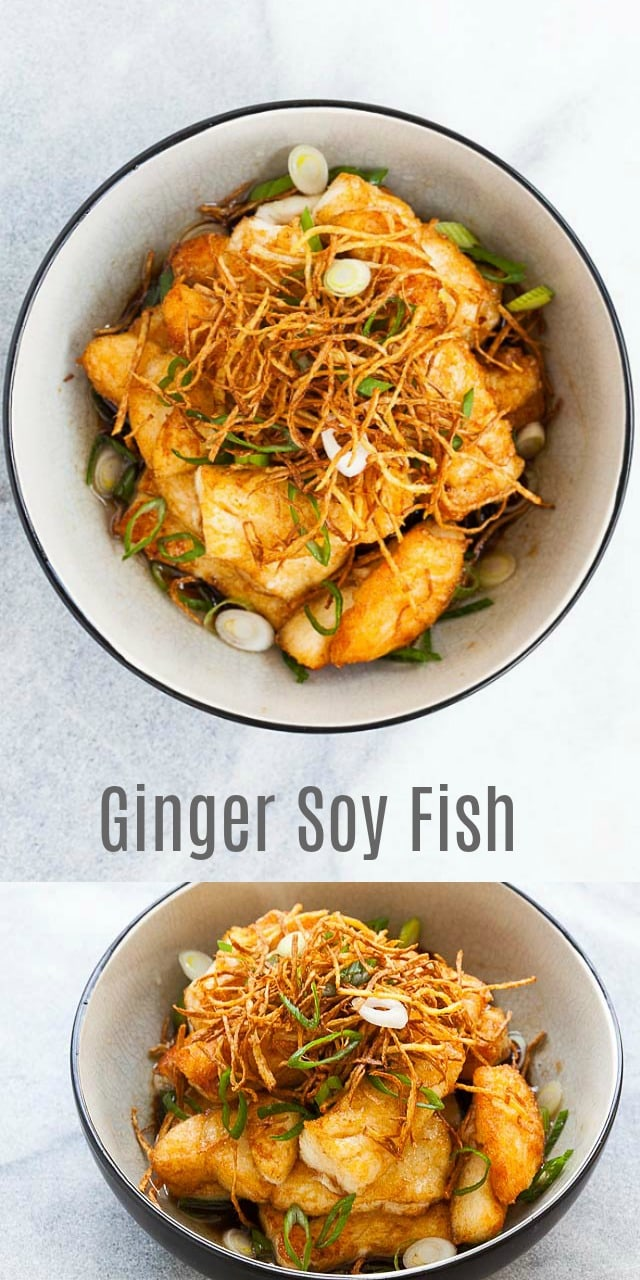 Ginger Soy Fish - crispy and perfectly cooked fish in a mouthwatering sauce. Topped with ginger and scallion, this recipe is so good with steamed rice!