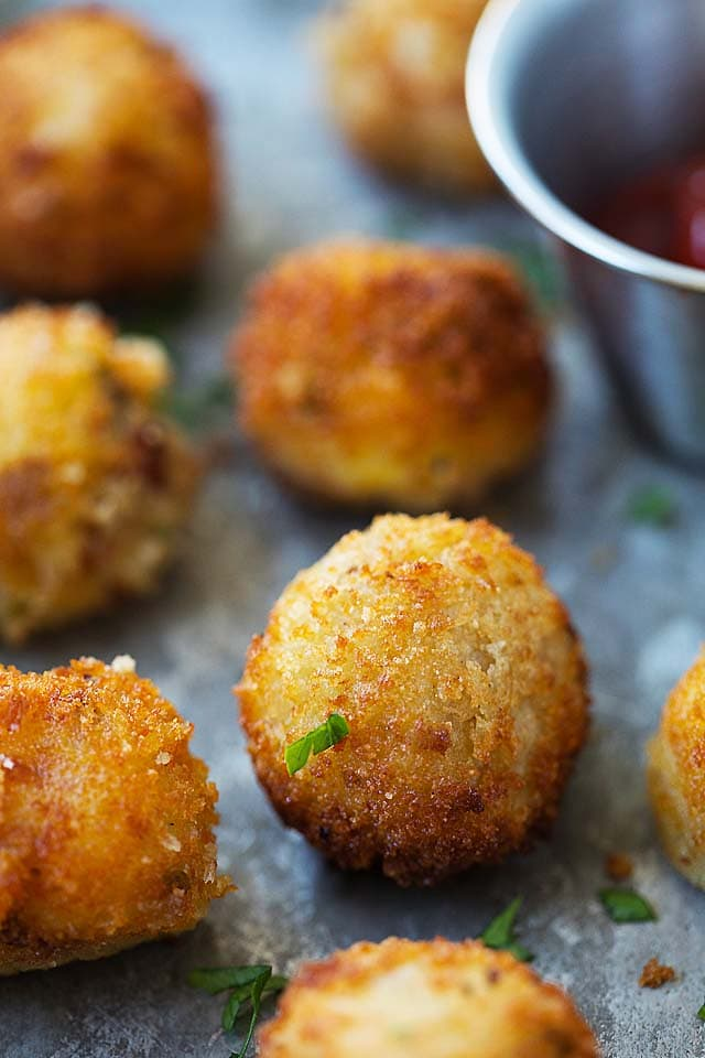 Mashed potato balls stuffed with bacon and cheddar cheese.