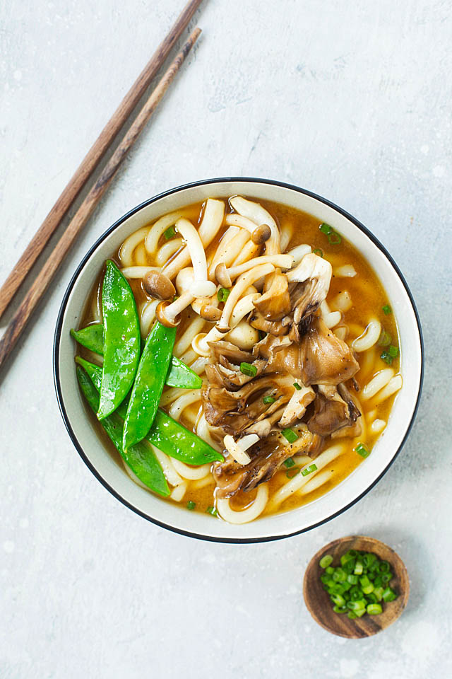 Easy sesame-soy mushroom miso soup bowl with udon noodles.