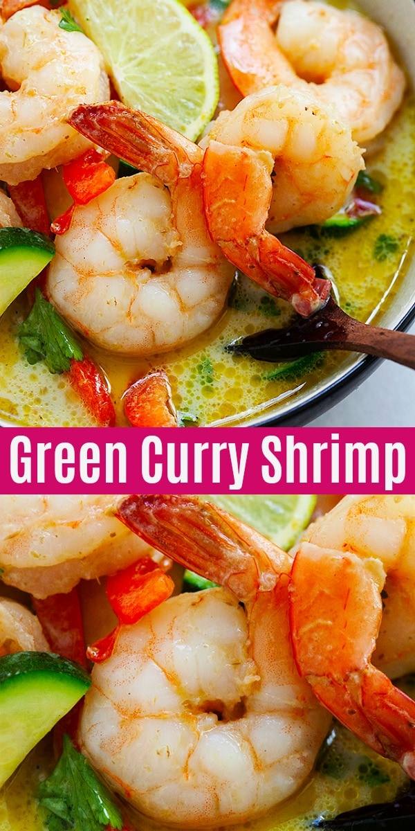 Delicious shrimp curry made with Thai green curry paste. This authentic Green Curry Shrimp recipe takes 20 mins to make and tastes just like restaurants!