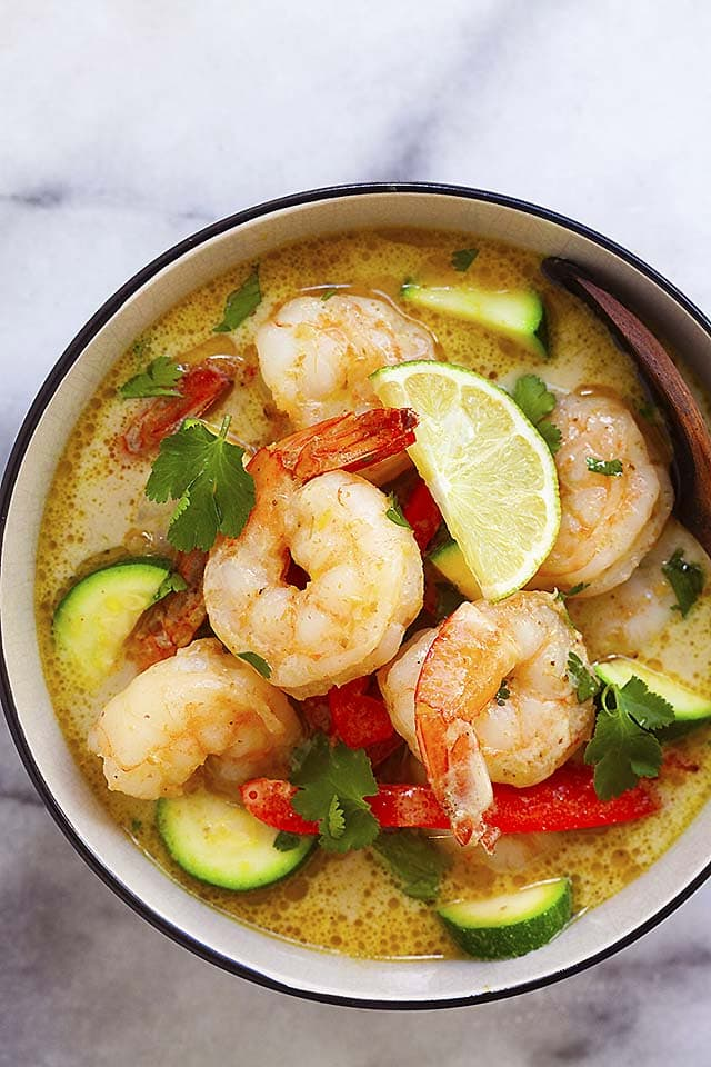 Shrimp curry made with Thai green curry paste, ready to be served in a bowl.