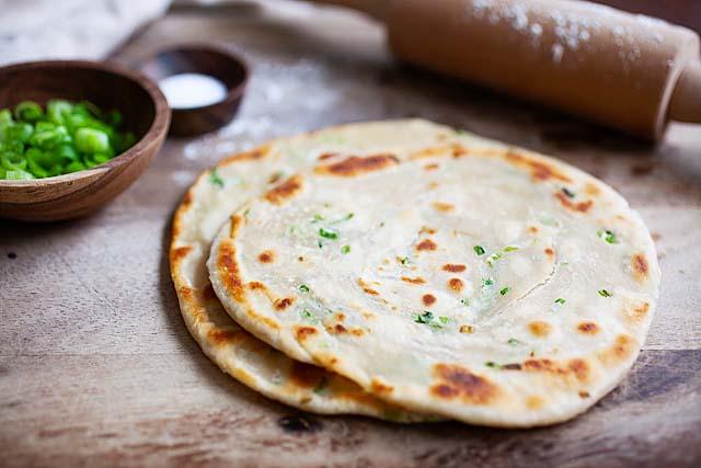 Vegan Chinese scallion pancakes.