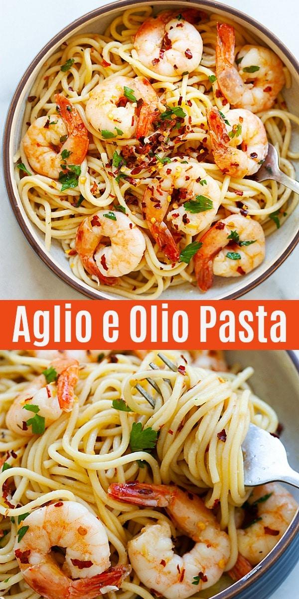 Spaghetti Aglio e Olio (The BEST Recipe with Shrimp ...