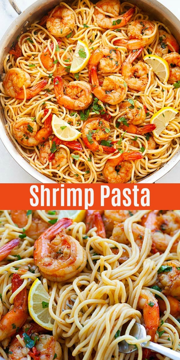 Shrimp Pasta - shrimp and pasta in a spicy beer sauce. This is one of the best shrimp pasta recipes, it's easy, tasty and dairy free for family dinner tonight!