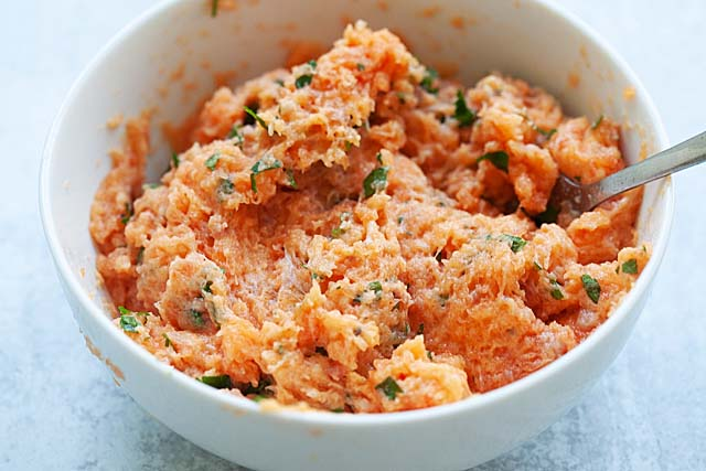 Salmon patties and salmon cakes ingredients in a bowl.
