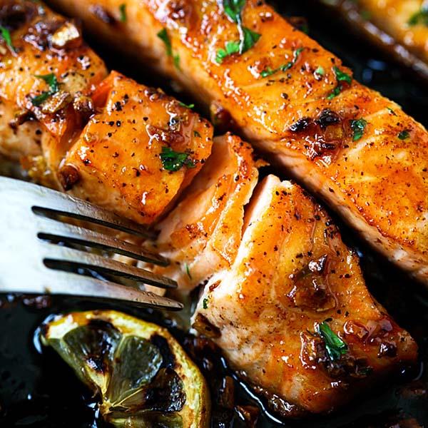 Salmon with honey garlic sauce.