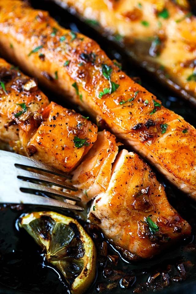 One of the best salmon recipes is honey garlic salmon made with salmon, honey and garlic.