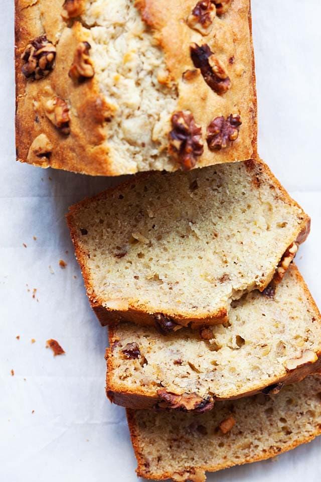 Banana nut bread recipe made of chopped walnuts, flour, butter, sugar, bananas and eggs.