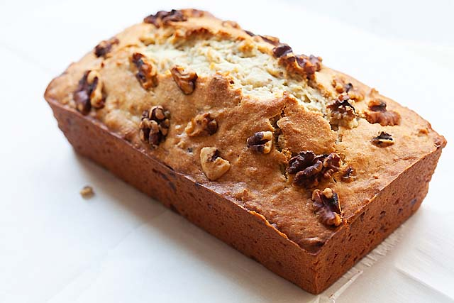 A loaf of banana nut bread