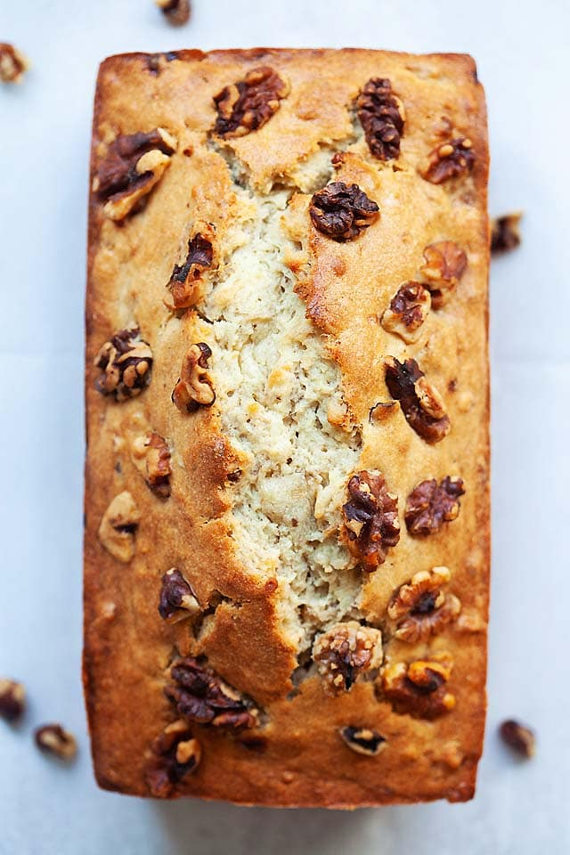 The best banana nut bread, sliced into pieces.