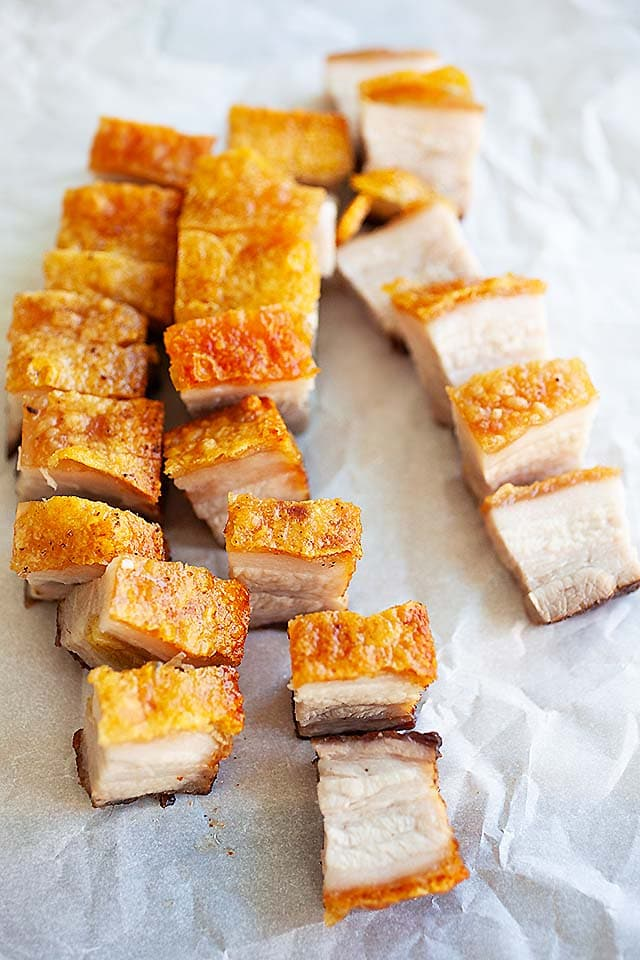 Crispy Chinese roast pork belly sliced into pieces.